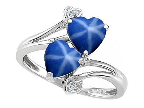 Heart-Shape 6 mm Created Star Sapphire and Diamond Ring 10k Size 7 (Womens Blue Star Sapphire Rings)
