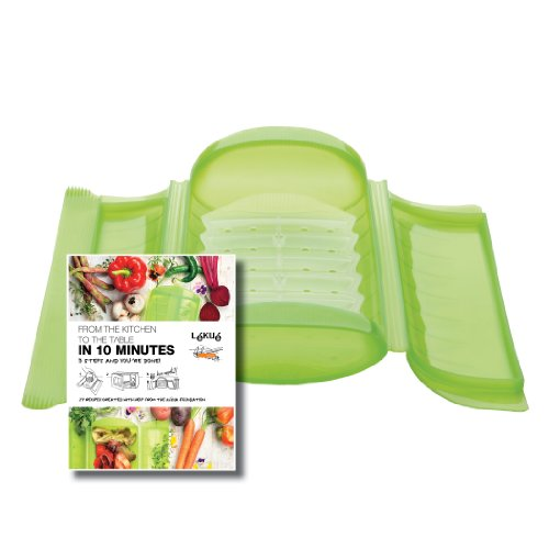 Lekue 3-4 Person Steam Case With Draining Tray and Bonus 10 Minute Cookbook, Green ()