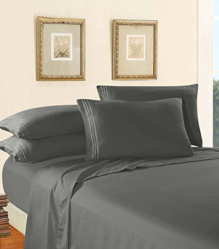 Comfort Thread - Luxury Bed Sheet Set on Amazon! Elegant Comfort Three-Line Design 1500 Thread Count Egyptian Quality Wrinkle and Fade Resistant 4-Piece Bed Sheet set, Deep Pocket, Full, Grey