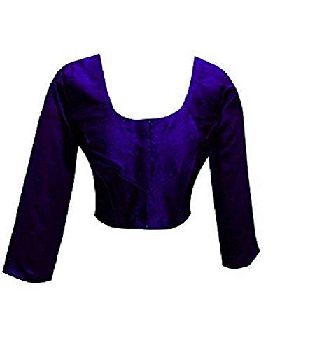 (Plain Raw Silk Ready-made Blouse Ideal Best Match for Saree Sari Lehenga Choli Crop Top by ETHNIC EMPORIUM (L, Blue))