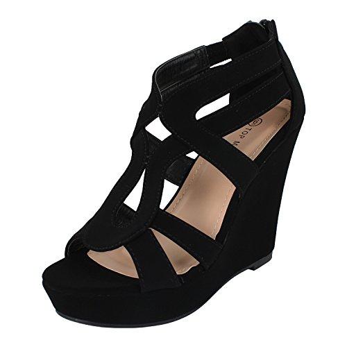Top Moda Lindy-03 Gladiator Sandals, Black Pu, 6.5