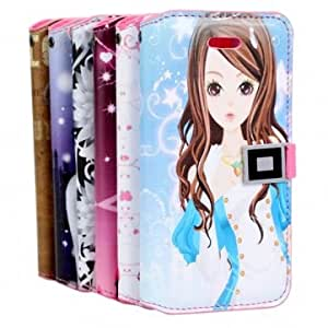 Beautiful Girl Wallet Leather Protective Case Cover For iPhone 5 5G & Design = 3