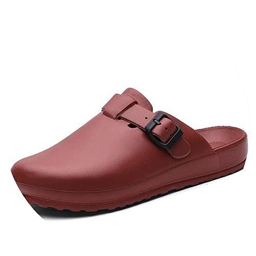 Women's Slippers EVA Clogs Surgical Shoes Hospital Anti-Slip Sandal Mules Medical Nursing Shoes Wine Red ()