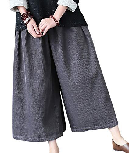 YESNO PH9 Women Casual Loose Cropped Pants Trousers Corduroy Elastic Waist Wide Leg Side Pockets - Corduroy Trousers