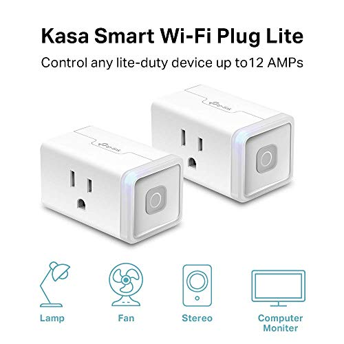 Kasa Smart WiFi Plug Lite by TP-Link (2-Pack) -10 Amp & Reliable Wifi  Connection, Compact Design, No Hub Required, Works With Alexa Echo & Google