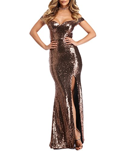 YSMei Women's Long Off Shoulder Sequins Evening Prom Dress Split Mermaid Formal Brown - Neck Dress Split Beaded