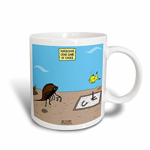 (3dRose mug_33961_2 Out to Lunch Cartoon - Horseshoe Crab Game of Choice - Ceramic Mug, Multicolored, 15 oz)
