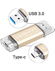 LEIZHAN Type C USB Flash Drive 128G & 64G & 32G BClé USB OTG(on The Go) 2 in 1 (USB 3.0) Flash Drive Pen Drive for Type-C Android Smart Phone and MacBook