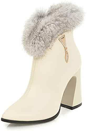 454777c1730 SFNLD Women s Classy Fluffy Fur Pointy Toe High Chunky Heels Side Zipper  Fall Winter Ankle Short