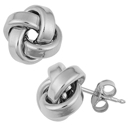 (Kooljewelry Rhodium Plated Sterling Silver 10 mm Love Knot Earrings)