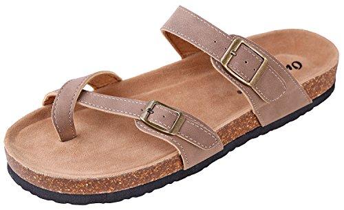 OUTWOODS Women's Bork-30 Vegan Leather Slide On Toe Loop Sandals (10 B(M) US, Taupe-Nubuck) - Leather Toe Loop Sandals