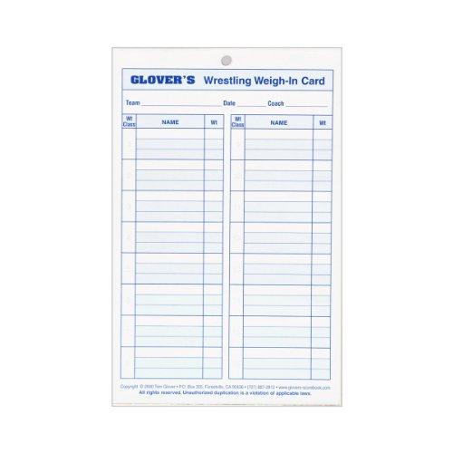 Glovers Scorebooks Wrestling Weigh-in Cards, Large (5.5x 8.5, 4 part) by Glover's Scorebooks