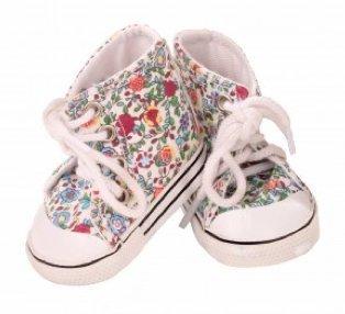 Götz 3401898 Sportliche Schuhe Chucks für Puppen im hippem Blumenmuster