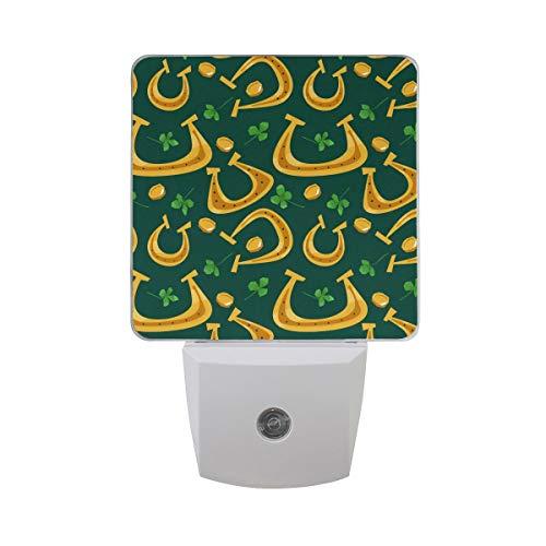 Green Four Leaf Clover Irish Shamrock Gold Horseshoe Palm St. Patrick's Day Auto Sensor LED Dusk to Dawn Night Light Plug in Indoor for Adults
