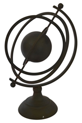 American Chateau Large Bronze Distressed Metal Tabletop Armillary Sphere with Pedestal Base ()