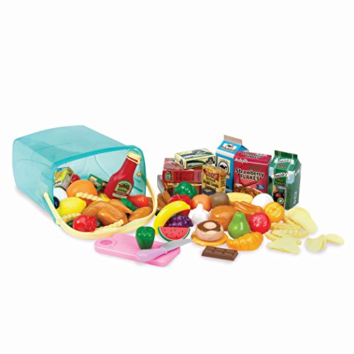 Fake Plastic Food (Play Circle by Battat – Pantry in a Bucket – 79-piece Pretend Food Playset with Storage Bin – Kitchen Toys and Plastic Play-Food for Toddlers Age 3 Years and Up)