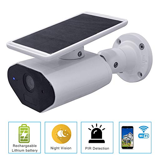 Celibate Solar Battery Powered Wire-Free Security Home Camera Outdoor Waterproof HD Wireless IP Camera Two Way Audio, IR Night Vision, Alarm Alert & PIR Motion Sensor