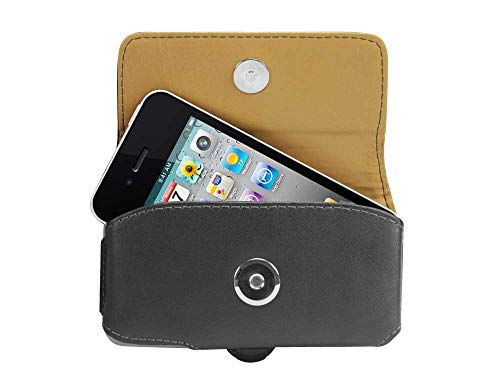 - Cellet Horizontal Premium Noble Leather Case for Apple iPhone 3 3GS 4 4S and Other Similar Sized Phones (Removable Spring Clip Included) (Renewed)