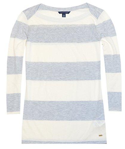 Tommy Hilfiger Women Lurex Rugby Stripe Tee (XS, Cream/Silver Lurex/Grey)