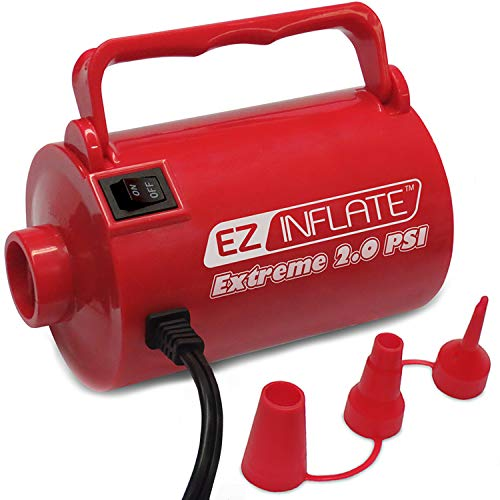 UPGRADED EZ Inflate HIGH VOLUME SUPREME AC Air Pump, Inflator Deflator Air Pump With 3 Universal Nozzles - Electric Air Pump For Inflatables, Airbeds, Inflatable Pool (Extreme 2.0 PSI) 1 - Air Pump Electric High Volume