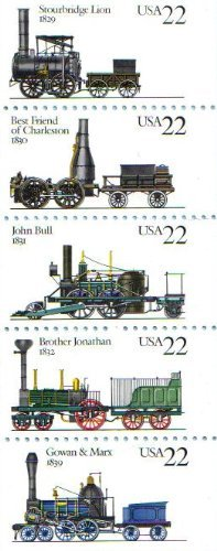 Locomotives Booklet - 1987 STEAM LOCOMOTIVES ~ TRAINS #2366a Booklet Pane of 5 x 22 cents US Postage Stamps
