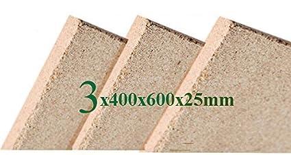 3x25mm Vermiculita Placas tableros de protección de Incendios 400x600x25mm schamotte Repuesto