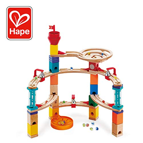 Hape Castle Escape - Quadrilla Wooden Marble Run - STEM Learning, Building & Development Construction Toy - Counting, Color & Problem Solving for Ages 4+, 101Piece ()