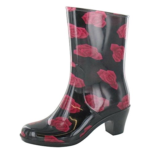 Rose Spot On Red Wellington Patterned Black Boots Heeled Ladies Womens tRBFqwRS