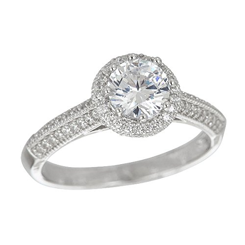 Decadence Sterling Silver Round Cut Cathedral Engagement Ring, 8 ()