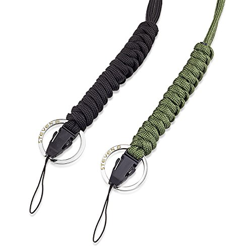 - STEVEN G Paracord Survival Lanyard Adjustable Necklace Cord with Clip and Split Ring for Camera, Cellphone, Case Holder, Keys, ID, Flashlight, USB (Pack of 2), Green + Black