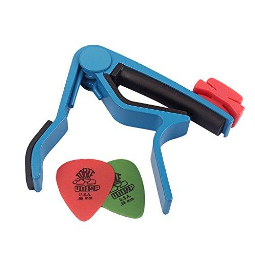 MagiDeal Aluminium Alloy Guitar Capo with Pick Holer+2 Picks