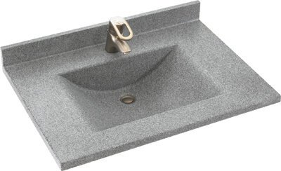 Swan CV02225.035 Contour Solid Surface Single-Bowl Vanity Top, 25-in L X 22-in H X 6.25-in H, Arctic ()