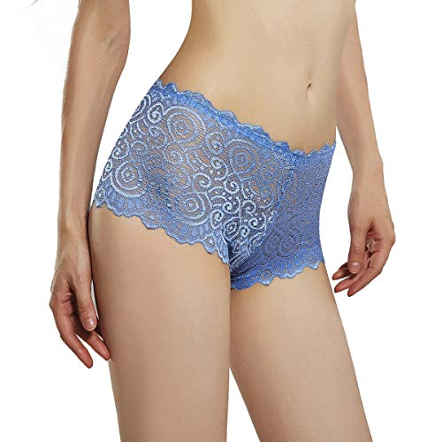 AmorFati Women's Briefs Lace Panties Pack of 3 (Large, Blue) ()