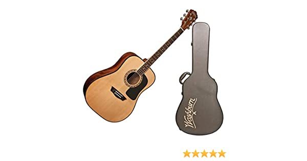 ecfff2edf6 Amazon.com: Washburn Apprentice 5 Series Dreadnought Guitar W/Hardshell Case:  Musical Instruments