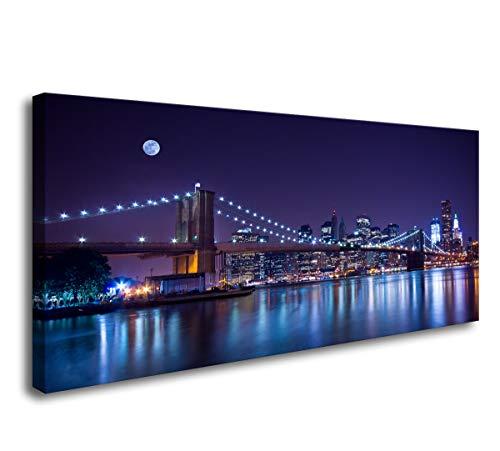 - Cao Gen Decor Art- 1 Panels Wall Art New York City's Brooklyn Bridge Canvas Prints Manhattan Skyline Illuminated with a Moon Pictures Painting Home Office Framed Wall Decor Artwork