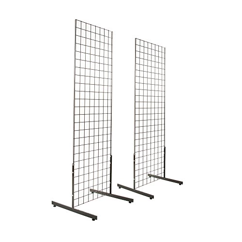 Metal Display Stand - 2' x 6' Gridwall Panel Tower with T-Base Floorstanding Display Kit, 2-Pack Black