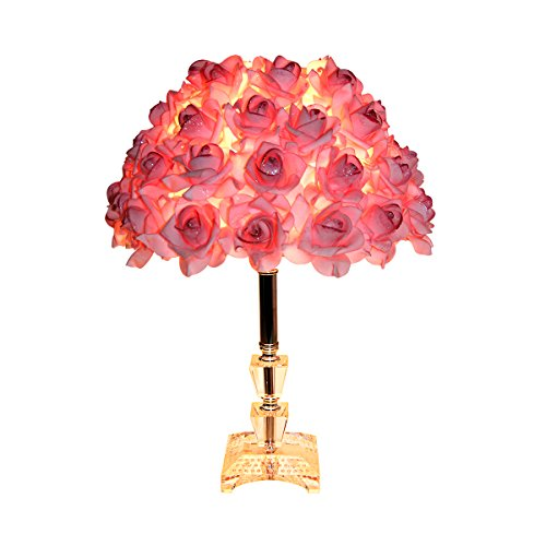 Leway's Modern Table Lamp with Rose Shade for Living Room,Bedside Decor(Crystal 15.75