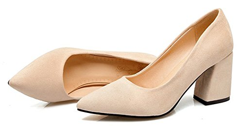 Aisun Donna Semplice Punta A Punta Basso Taglio Dressy High Heel Wear To Work Ufficio Slip On Pumps Scarpe Beige