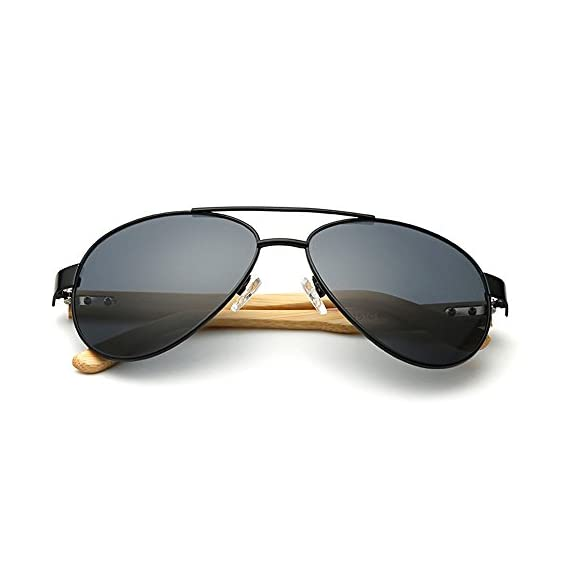 VeBrellen Bamboo Wood Arms Classic Mirrored Sunglasses For Men & Women 4 1.Materials——AC lens & Bamboo Temple. 2.Bamboo Temple——Only eco-friendly and recycled wood used. No harm is done to the environment, feel good about yourself! 3.Flexible Alloy Frame. The More Flexible the More Comfortable. No Worry About Glasses Falling Down. Half frame, special and vintage design.