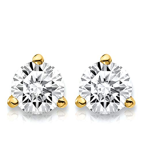 3/4 Carat Lab Grown Diamond 3 Prong (Martini) Stud Earrings (Certified D-F Color, VS/SI Clarity) Set in 14k Gold - Studs Martini Prong 3