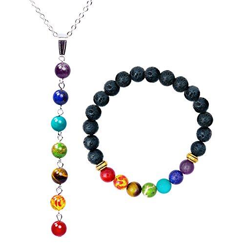 Authentic Jewelry Set (7 Chakra Healing Bracelet (7.25 in) and Necklace Set with Stones, Volcanic Lava, Mala Meditation Bracelet Set - Men's and Women's Religious Jewelry - Wrap, Stretch, Charm Bracelets)