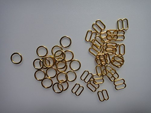 Lingerie Ring - Lyracces Lots 100pcs Metal Rectangular Figure 8 Shape with 0 Shape Lingerie Adjustment Sliders Adjustors and Rings for Bra Strap Apparel Holder Findings (Gold tone, 6mm 1/4In)