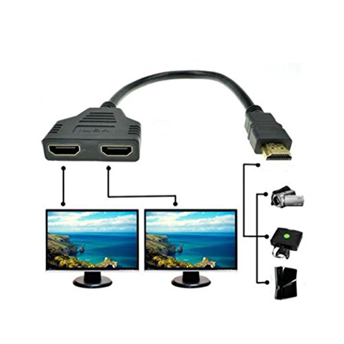 1-In 2-Out HDMI Splitter Adapter (Black) - 7