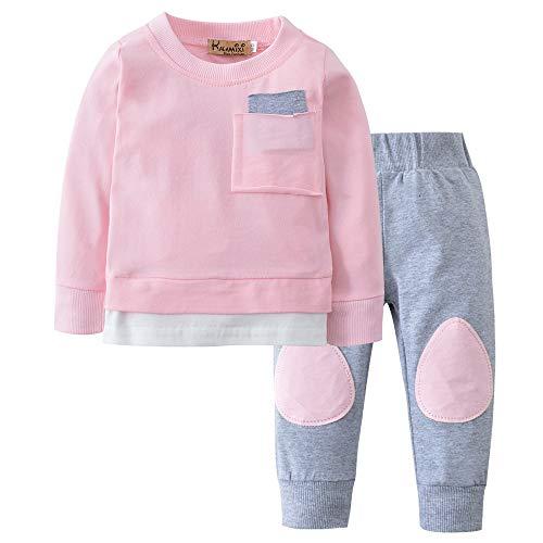 (Ankola 2PCs Set Toddler Infant Baby Boys Patchwork Long Sleeve Autumn Winter Tops Sweatsuit Pants Outfit Set (24M,)