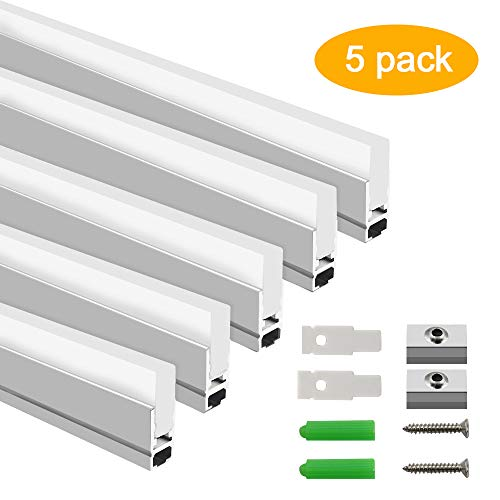 Design Extrusion Aluminum - inShareplus LED Crystal Aluminum Channel System, 8.5mm Ultra Thin Silver Track Extrusion Profile for LED Strip Light Installation, 3.3ft/1M, 5 Pack, New Design Style