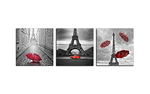NAN Wind 3 Pcs Modern Giclee Canvas Prints Paris Black and White with Eiffel Tower Red Car Umbrellas Wall Art Landscape Wall Decor Paintings on Canvas Stretched and Framed Ready to Hang for Home (Red And Black Canvas Art)
