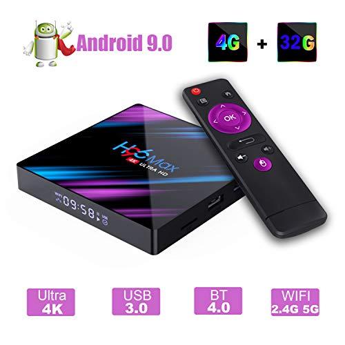 H96 MAX Android 9.0 TV Box, EstgoSZ 4GB 32GB Android Box USB 3.0 BT 4.0 2.4G 5G Dual WiFi 3D/4K H.265 KD18.1 Smart Android TV Box