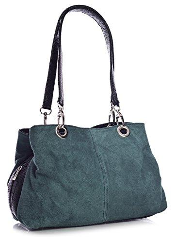 Big Handbag Shop Womens Small Twin Top Multi Zip Pockets Suede Leather Shoulder Bag