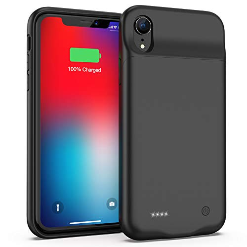 Battery Case for iPhone XR, Slim Protective Charger Case for iPhone XR Extended Battery Case, 4000mAh Rechargeable Charging Case Compatible with iPhone XR (Black)