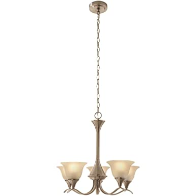 Hampton Bay Santa Rita 5-Light Brushed Nickel Chandelier 24 in DIA x 21.7 in H